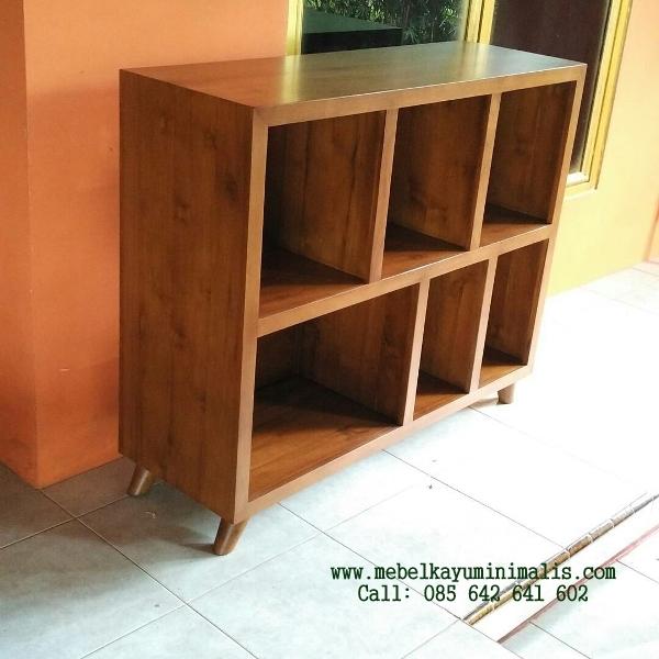 Rak Buku Pendek Minimalis Kayu Jati MKM-049