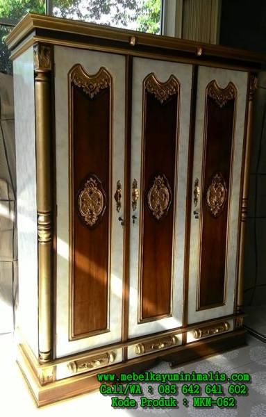 lemari pakaian jati ukiran 3 Pintu MKM-062