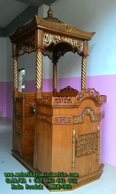 Mimbar Masjid Kayu Jati Berkualitas MKM-069
