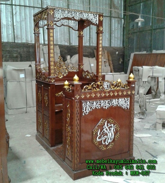 Model Mimbar Masjid Kaligrafi Jepara Jati