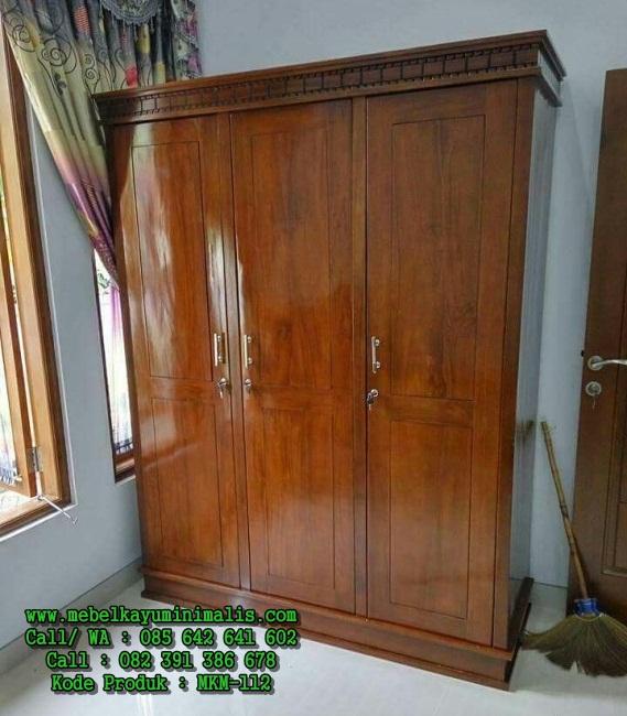 Model Almari Minimalis Kayu Jati 3 Pintu MKM-112