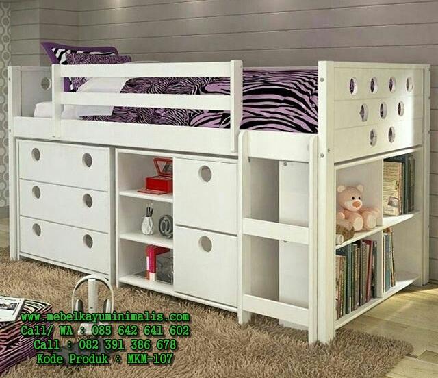 Model Tempat Tidur Anak Minimalis Putih MKM-107