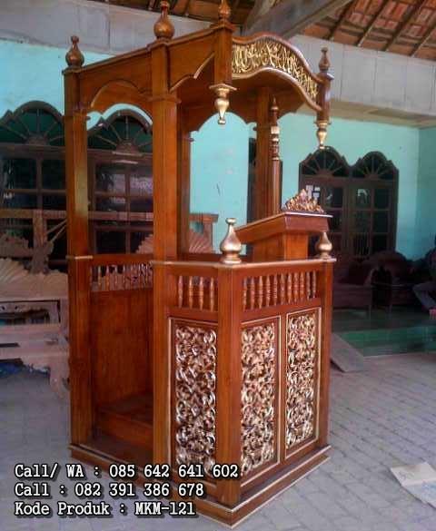 Mimbar Masjid Model Minimalis Ukiran MKM-121