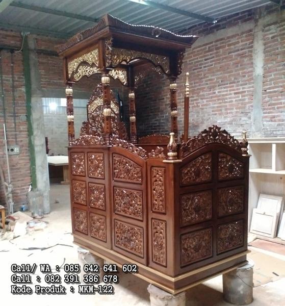 Mimbar Masjid Ukiran Kayu Jati Asli MKM-122