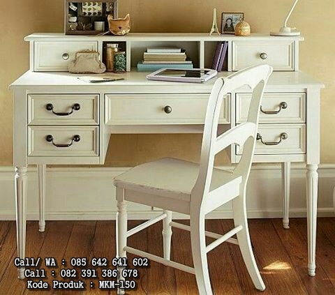 Meja Kerja dan Belajar Warna Putih Klasik MKM-150
