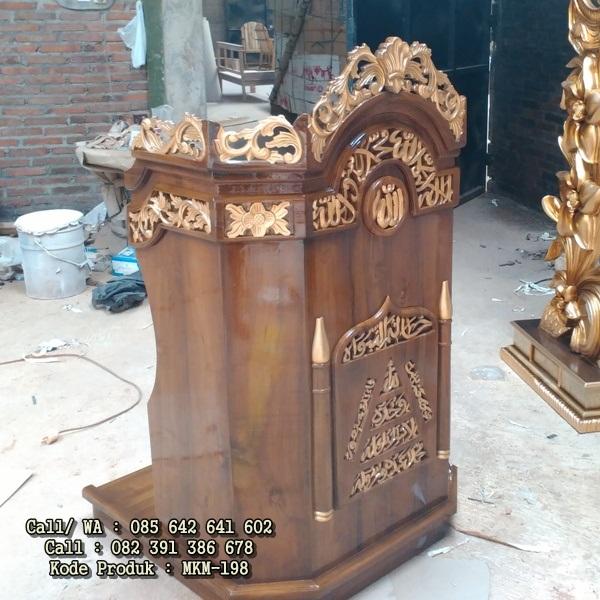 Mimbar Masjid Sederhana Minimalis Ukiran Jepara MKM-198