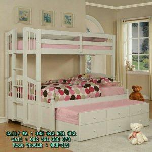 Dipan Tingkat Slorong Putih 3 Bed