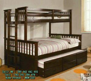 Tempat Tidur Tingkat Anak 3 Bed Kayu Jati