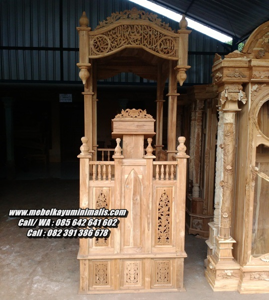 Desain Mimbar Masjid Minimalis Ukiran Jati