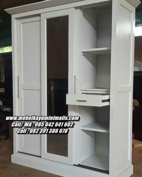Lemari Pakaian Minimalis Warna Putih 3 Pintu