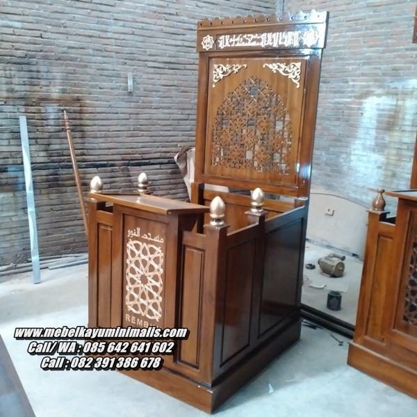 Mimbar Masjid Minimalis Kaligrafi Jepara