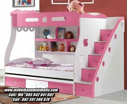 Ranjang Tingkat Minimalis Anak Perempuan Pink