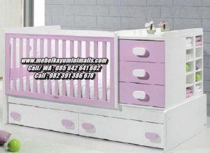 Tempat Tidur Bayi Kayu Minimalis Ungu