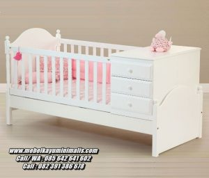 Tempat Tidur Bayi Laci Warna Putih Duco