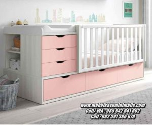 Tempat Tidur Bayi Minimalis Laci Warna Pink