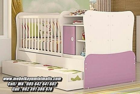 Tempat Tidur Bayi Rak Laci Sorong Minimalis