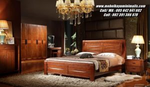 Kamar Set Tempat Tidur Kayu Jati Minimalis